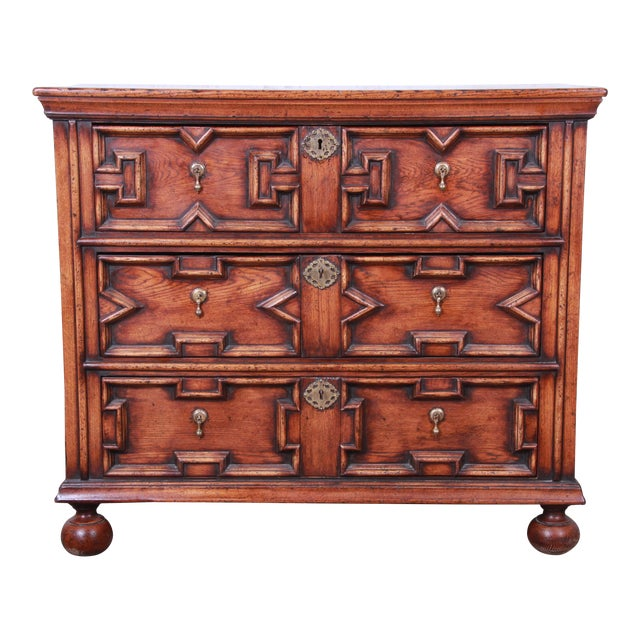 Antique Carved Oak Three-Drawer Bachelor Chest For Sale