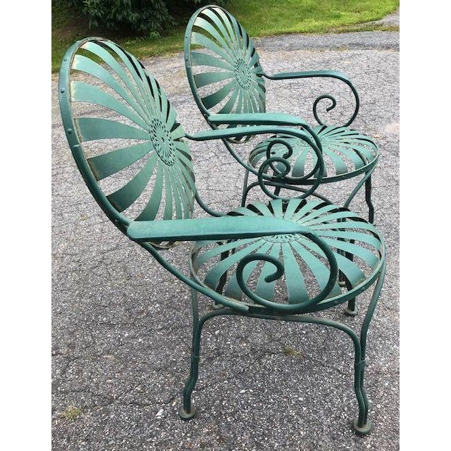 Francois Carre Style French Sunburst Spring Steel Deauville Garden Chairs - A Pair For Sale - Image 11 of 12