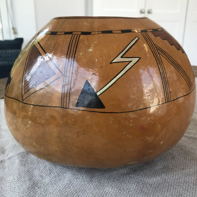 Vintage Hand Painted Gourd Hopi Sunface For Sale In Los Angeles - Image 6 of 11