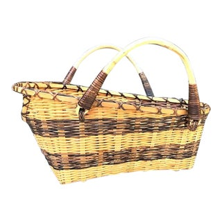 1960s Boho Chic Wine Holder Basket For Sale