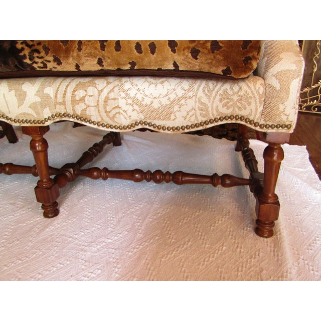 Contemporary Southwood Damask and Chenille Leopard Print Settee with Pillows - 3 Pieces For Sale - Image 10 of 12
