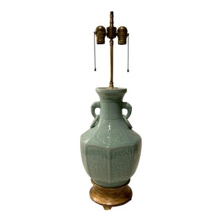 Antique Asian Adjustable Porcelain Double Socketed Lamp For Sale