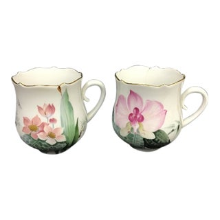 Vintage Meissen Porcelain Cups With Flowers - a Pair For Sale