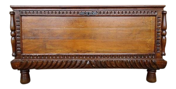 Large Antique French Oak Blanket Trunk Coffee Table / Dowry Chest Coffer