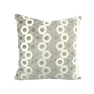 "Silver Chenille Rings Pattern Pillow Cover - 20"" X 20"" For Sale"