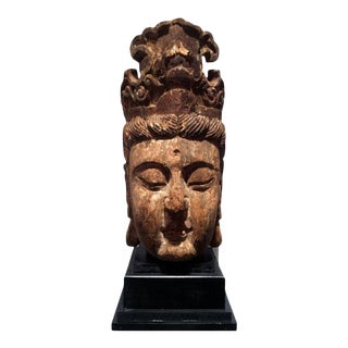 Large Polychromed Wood GuanYin Head on Stand For Sale
