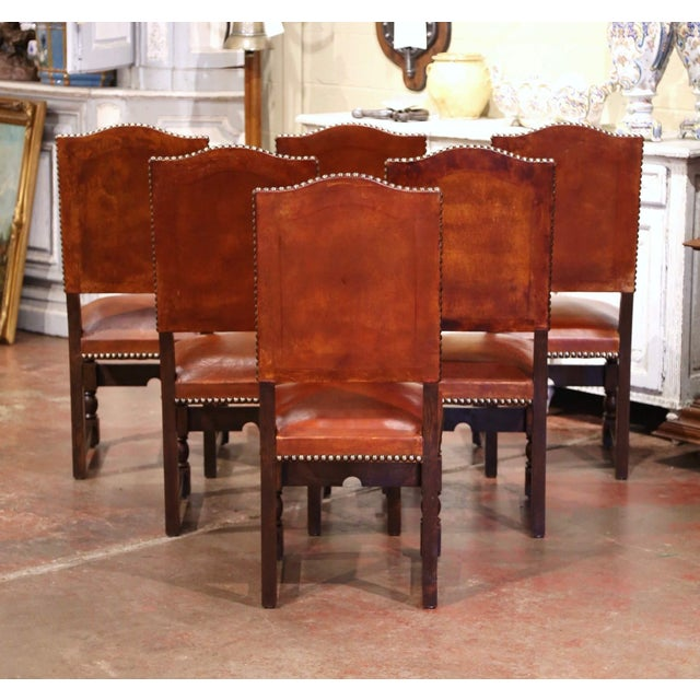 French 19th Century French Carved Oak and Tan Leather Dining Chairs - Set of Six For Sale - Image 3 of 13