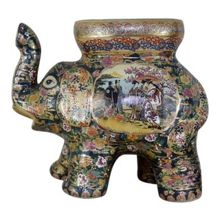 "18"" Tall Vintage Satsuma Hand-Painted Elephant Garden Stool For Sale"