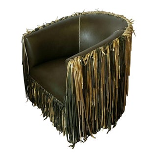 Emerald Green Shaggy Leather Chair For Sale