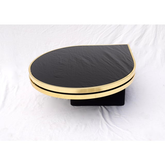 Metal Swivel Brass & Black Glass Cocktail Table by Design Institute of America For Sale - Image 7 of 13