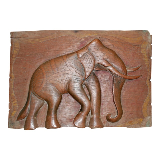Antique Indian Elephant Relief Panel - Image 1 of 4