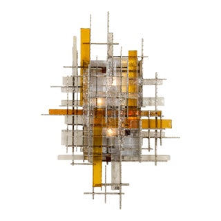 Large Chromed Steel, Amber and Frosted Glass Sconce by Poliarte For Sale