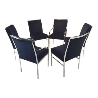 Chrome and Blue Velvet Dining Chairs by Pierre Cardin - Set of 6 For Sale