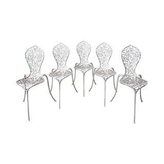 Set of Five Rondel Design Cast Aluminum Peanut Chairs For Sale
