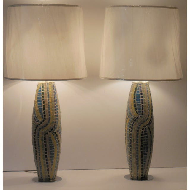 Moasic Table Lamps - A Pair - Image 2 of 11