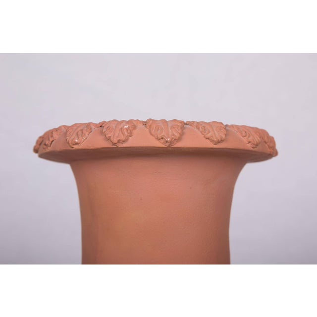 Pictured is a decorative pair of neoclassical terracotta campaign urns situated on ebonized plinths decorated with...
