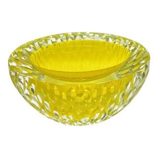 Vintage Alesandro Mandruzzatto Italian Murano Faceted Glass Caviar Bowl