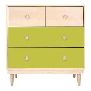 Nico & Yeye Luke Modern Kids 4-Drawer Dresser Solid Maple and Maple Veneers Green For Sale