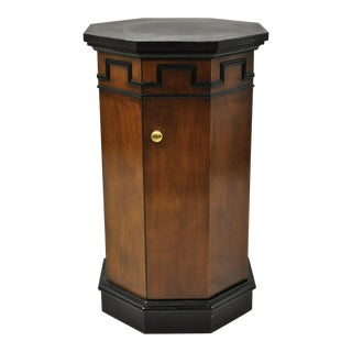 Vintage Round Slate Top Mahogany Pedestal Classical Column Cabinet Storage Stand For Sale