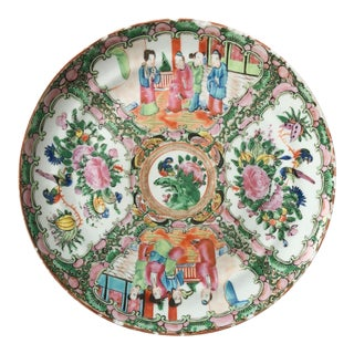 Antique Rose Medallion Dinner Plate For Sale