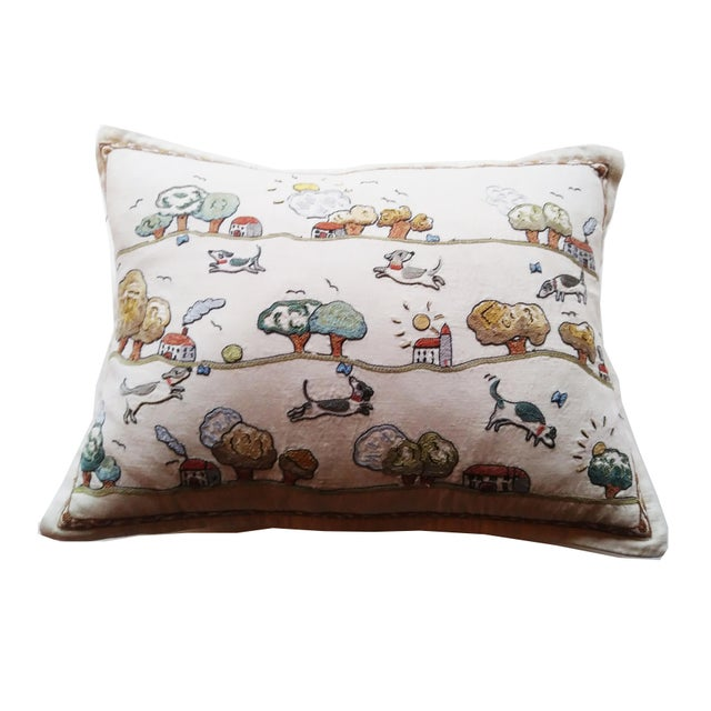 "Domenica More Gordon ""Jumping Over Houses"" Pillow - Image 3 of 6"
