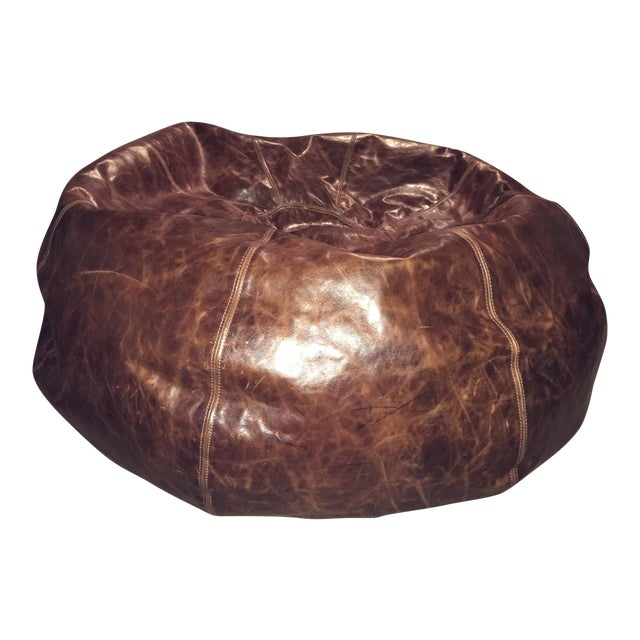 restoration hardware leather bean bag chair chairish. Black Bedroom Furniture Sets. Home Design Ideas