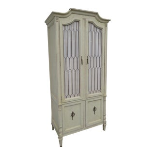 Tall French Carved Painted Armoire Wardrobe For Sale