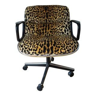 Leopard Mid-Century Pollock Knoll Executive Chair