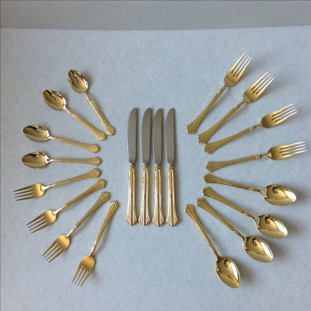 "Stainless gold electroplate flatware in lovely Art Deco pattern ""Tracy"". Service for four. 20 pieces total. New condition,..."
