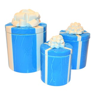 1970s Italian Trompe l'Oeil Mancioli Canister Set of 3 For Sale