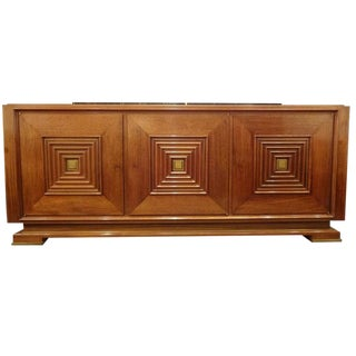 Mid-Century Sideboard in Hand Waxed Palisander and Bronze France Circa 1946 For Sale