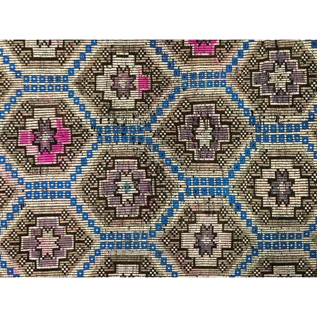 Blue 1960s Vintage Primitive Nomadic Aztec Turkish Traditional Wool Handmade Kilim Rug- 6′ × 8′8″ For Sale - Image 8 of 11