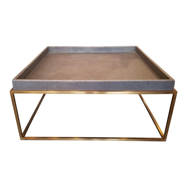 Restoration Hardware Shagreen Tray Square Coffee Table For Sale
