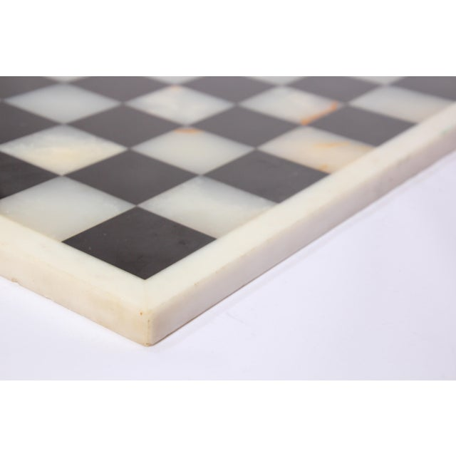 Vintage Marble Chess Board With Hand Carved Black and White Onyx Chess Pieces For Sale - Image 11 of 13
