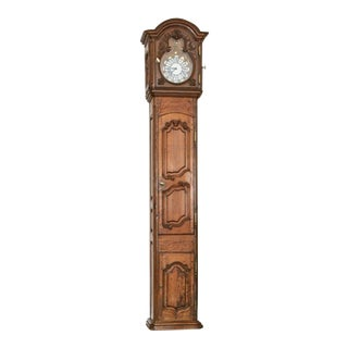 18th Century French Hand Carved Tall Case Clock For Sale
