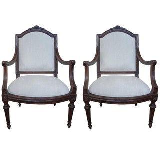Late18th Century Vintage Italian Walnut Chairs- A Pair For Sale