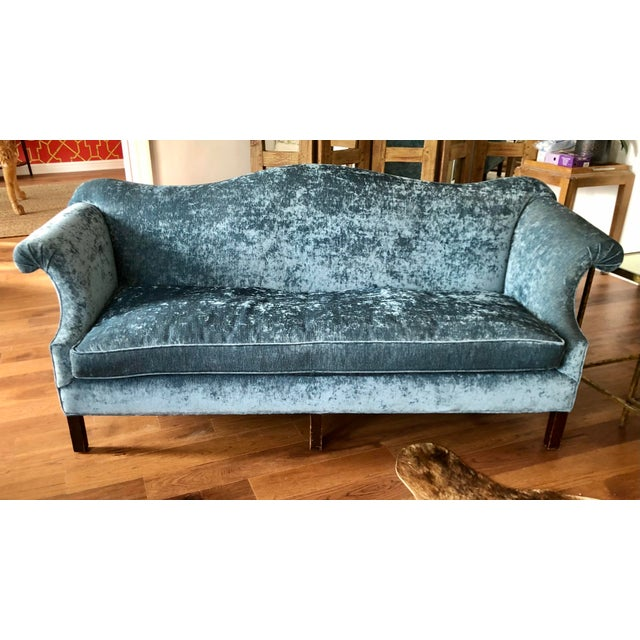 Antique Chippendale Camelback Blue Silk Velvet Down Filled Sofa For Sale In Los Angeles - Image 6 of 6