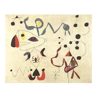 1986 Joan Miro 'Femmes Et Oiseau La Nuit' Surrealism Multicolor,Red,Gray,Black Germany Offset Lithograph For Sale