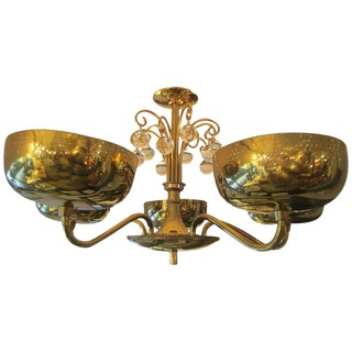 Five-Arm Brass Fixture in the Manner of Paavo Tynell