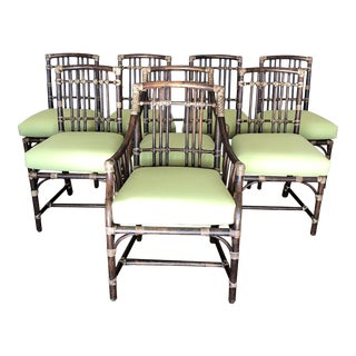 Set of 8 Vintage McGuire Dining Chairs For Sale