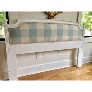 Modern Upholstered Blue & White Headboard Preview
