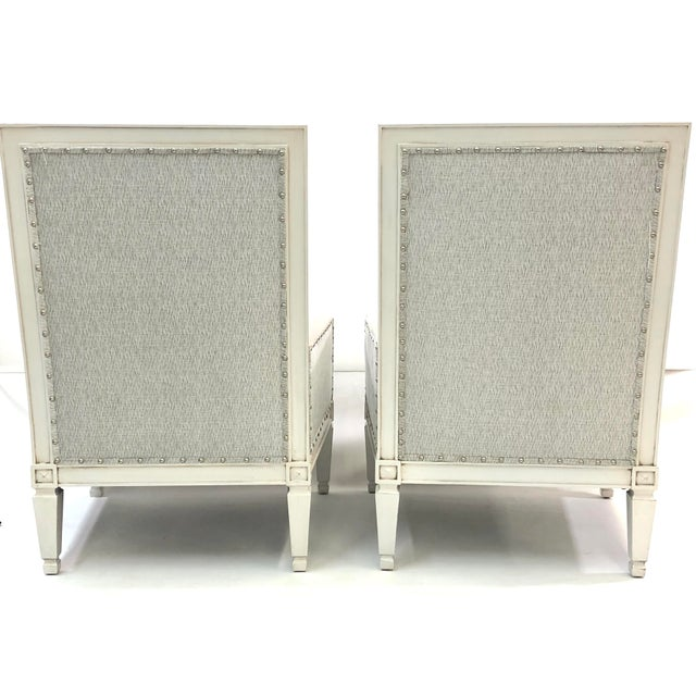 Contemporary ContemporaryDrexel White Wood Accent Chair s - a Pair For Sale - Image 3 of 6