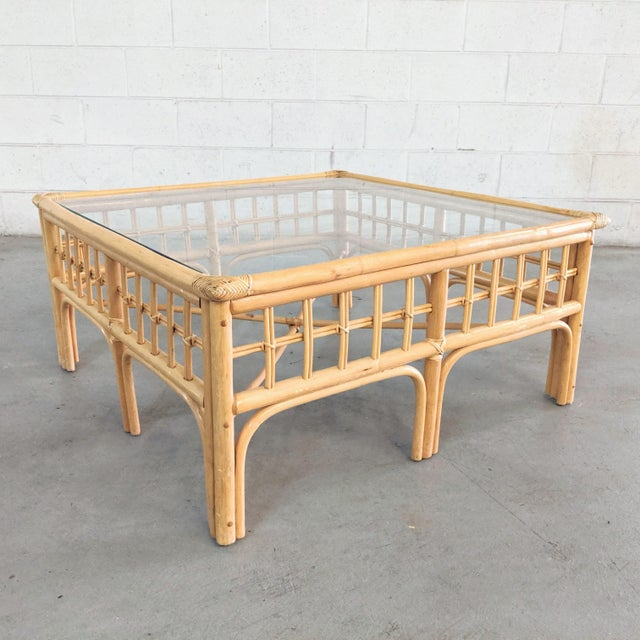 Vintage Boho Chic Rattan Coffee Table For Sale In Chicago - Image 6 of 9