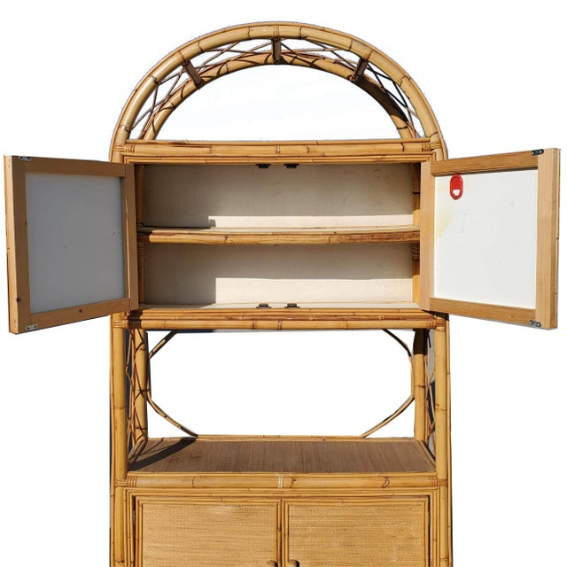 Asian Vintage Bamboo Display Cabinet For Sale - Image 3 of 10