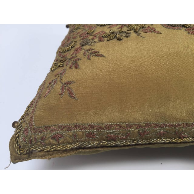 "Throw pillow with raised gold metallic embroidery of vining flowers bronze silk. By the J J Valaya ""Valaya Design Studio""..."
