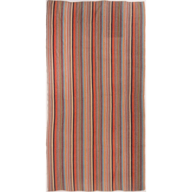 Contemporary Striped Wool Kilim Rug - 6′10″ × 11′6″ For Sale In New York - Image 6 of 6