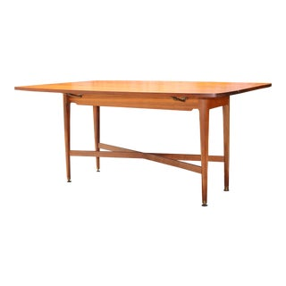 1970s Walnut Wood Drop Leaf Dining Table by Drexel For Sale