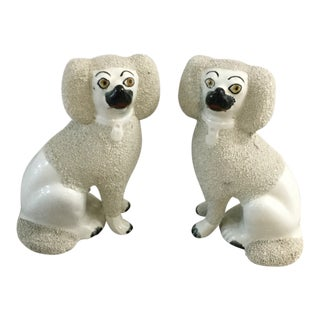 1930s English Staffordshire Poodle Dog Statues - a Pair