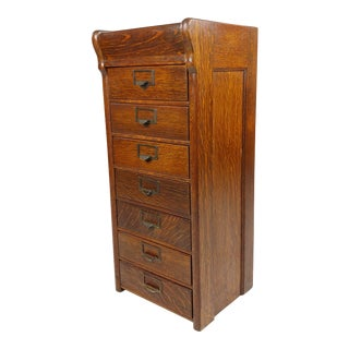 Antique 1930s Oak Mini Filing Cabinet for Letters with 7 Drawers For Sale