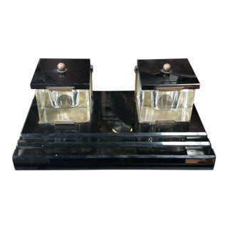 1920's French Art Deco Double Lucite Inkwell Desk Caddy With Marble Base For Sale
